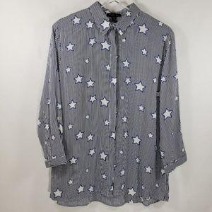 Olive & Joye Blue Striped Button Down Shirt Sz M